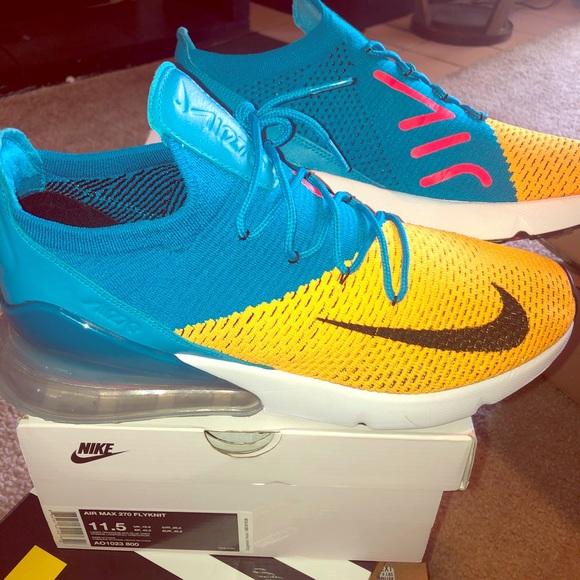 Womens Nike Air Max 270 Custom Bright Lemon YellowPink Racer Blue